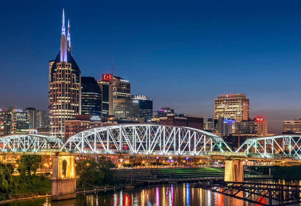 Pedestrian bridge over the Cumberland river and the lights
