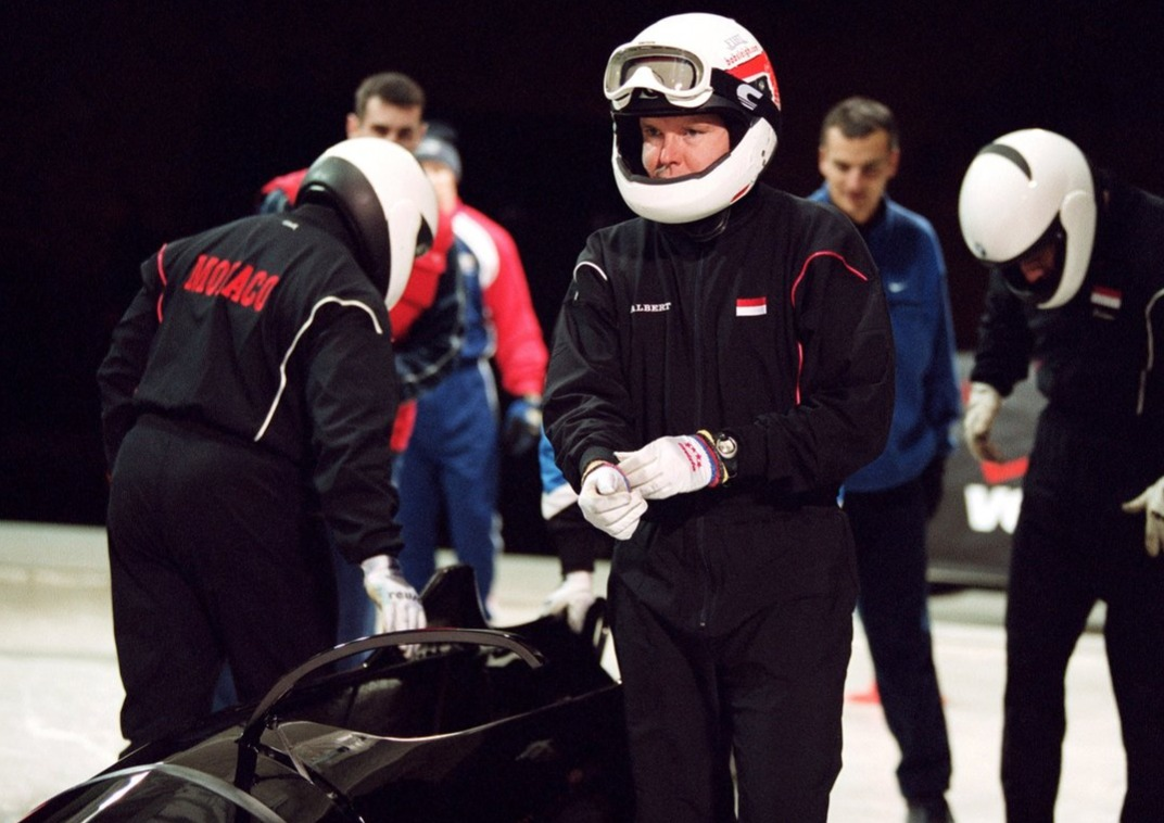Prince Albert of Monaco's last training session on the Olympic bobsleigh track 2001