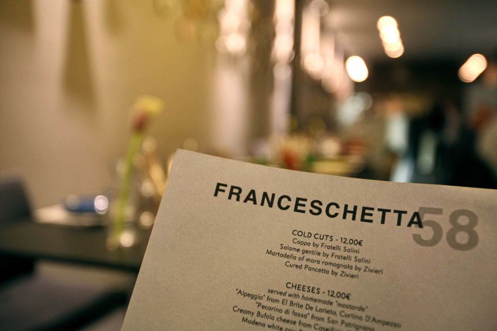 restaurant menu franceschetta no dollar signs