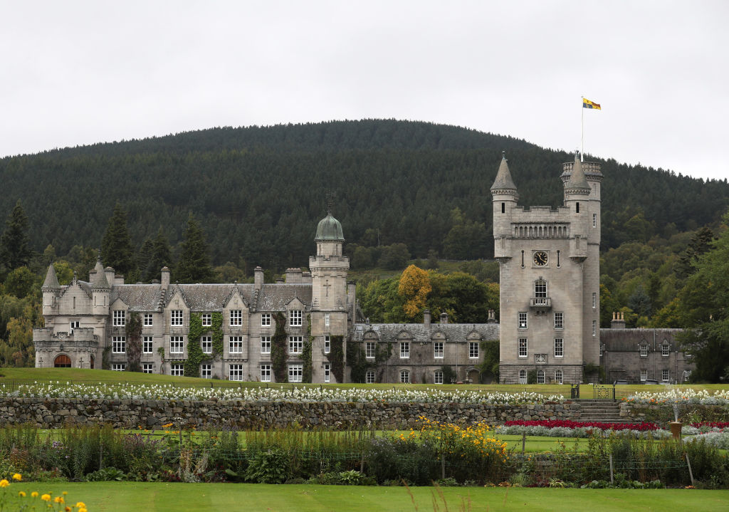balmoral castle on a foggy day