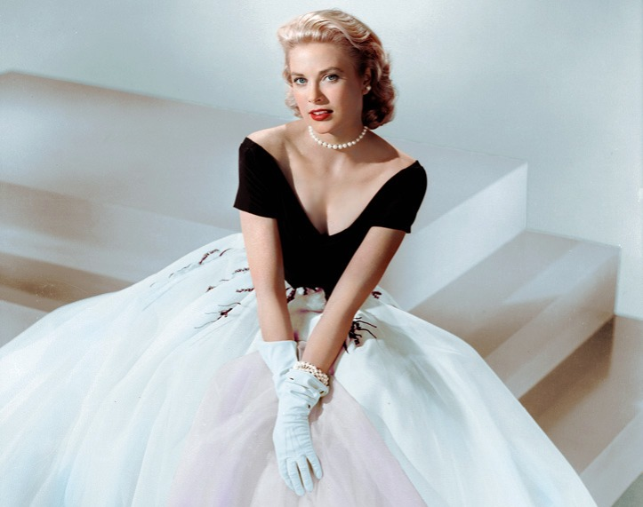 Princess Grace Kelly in a black and white gown