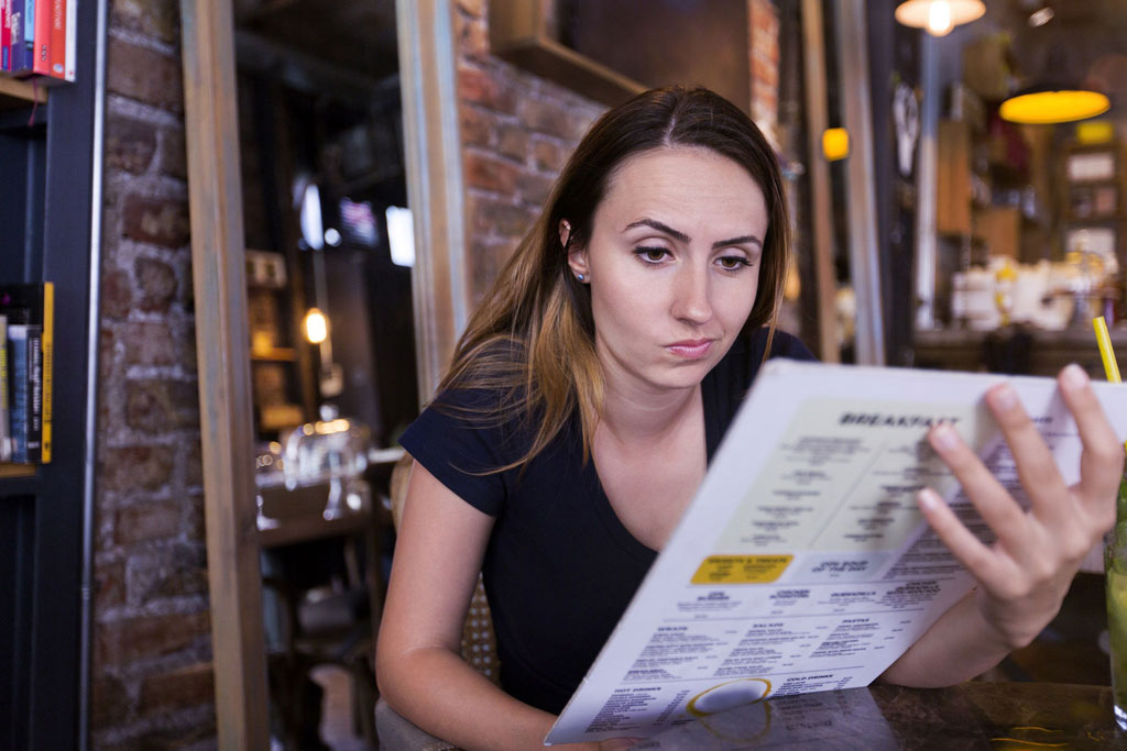 menu with too many descriptions