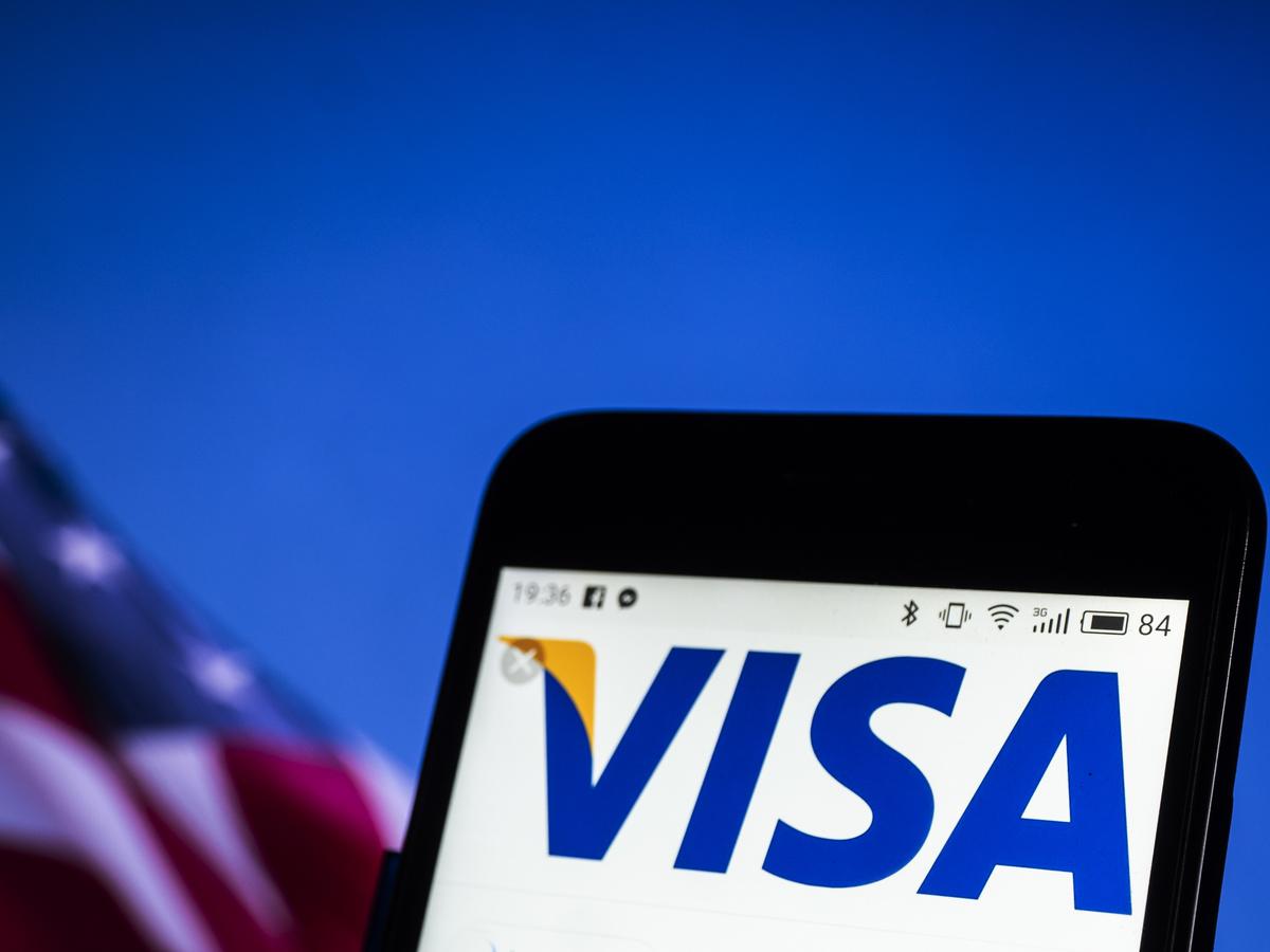 Visa company logo seen displayed on a smart phone