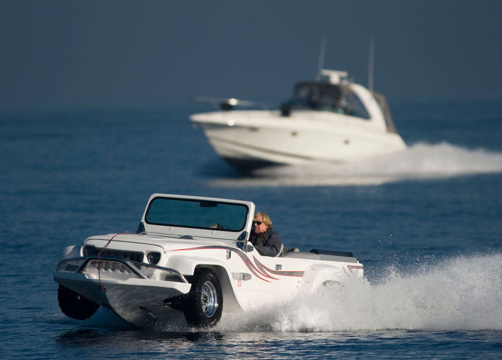 car driving  a test drive in his WaterCar to Catalina Island
