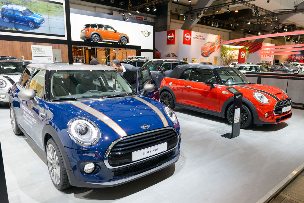 mini car MINI Clubman and MINI Countryman on display at Brussels Expo