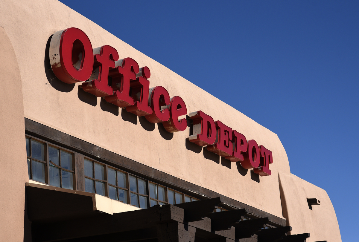 An Office Depot store sign in Santa Fe, New Mexico