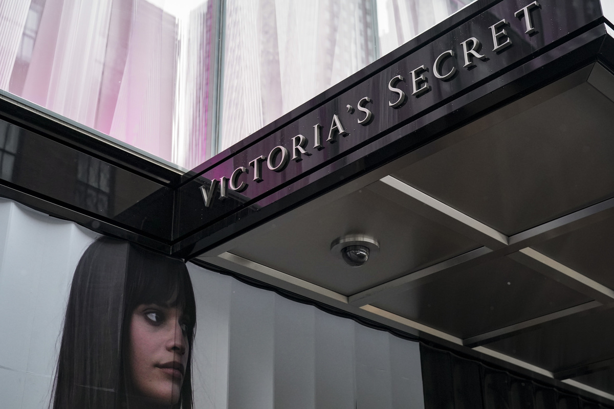 Signage for a Victoria's Secret store stands in Midtown Manhattan