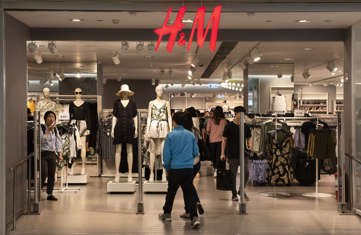 Swedish multinational clothing design retail company Hennes & Mauritz, H&M, store seen in Hong Kong.