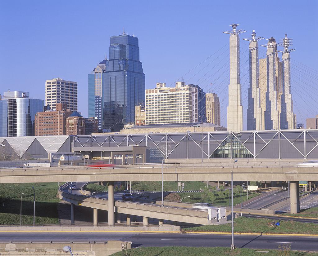 Kansas Skyline of Kansas City, Missouri with Interstate 10