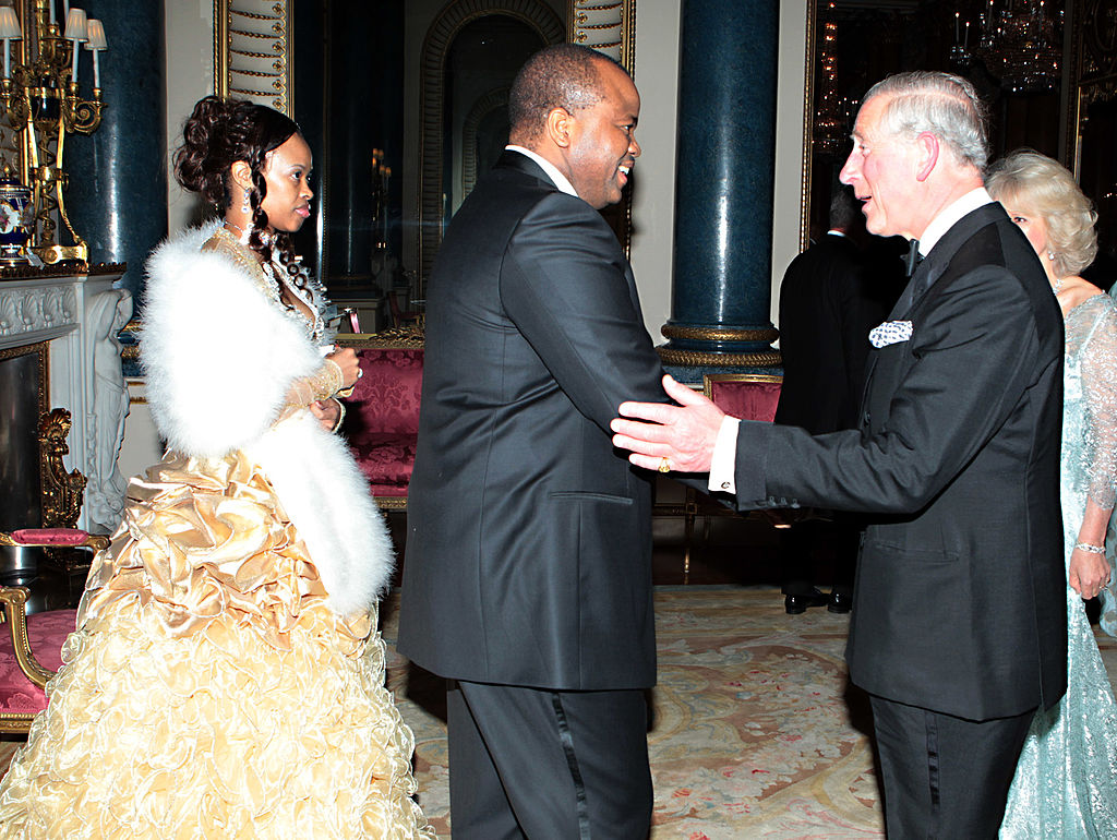 Swaziland's Royal Family Prince of Wales and Camilla, Duchess of Cornwall greet King Mswati III of Swaziland and wife Inkhosikati LaMbikiza of Swaziland