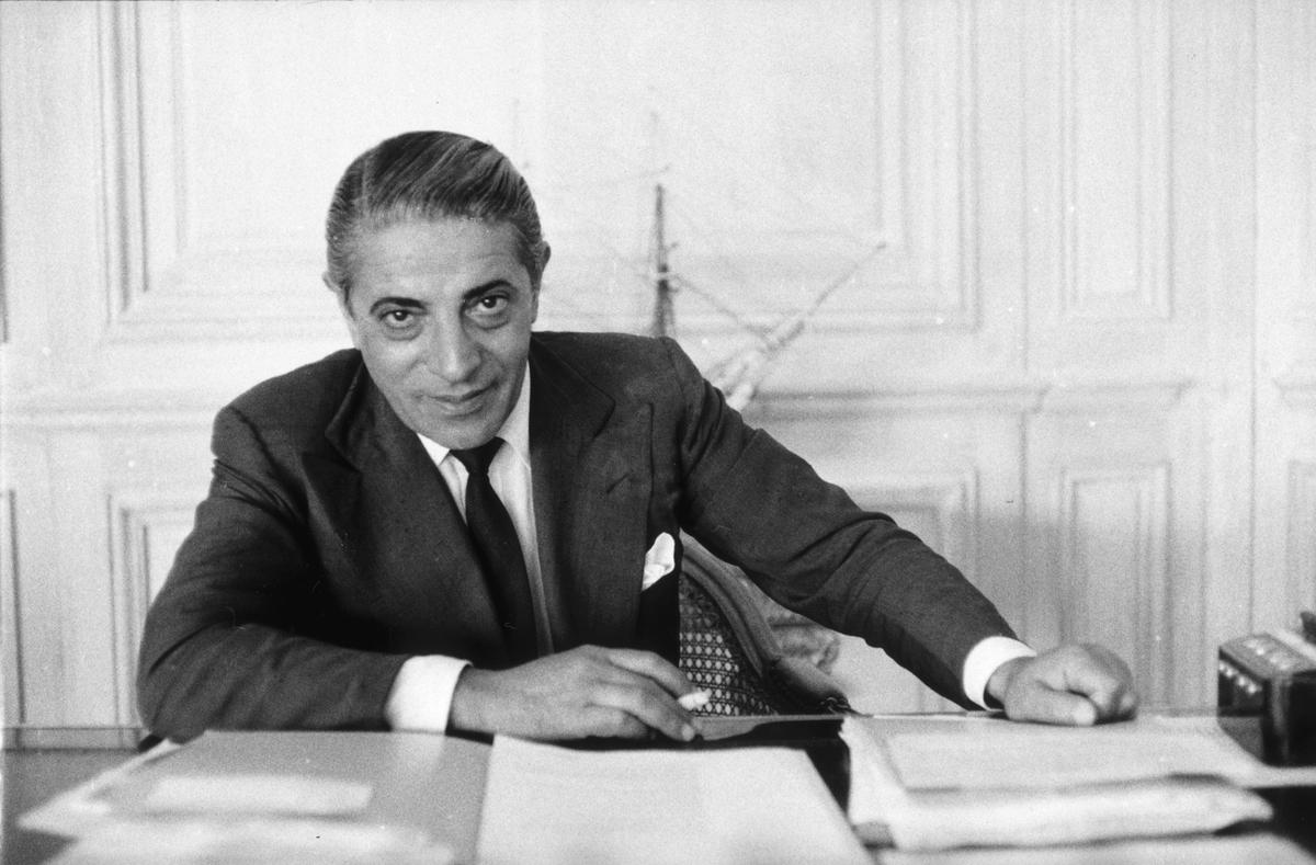 Greek shipping tycoon Aristotle Socrates Onassis (1906 - 1975) in his Monte Carlo office.
