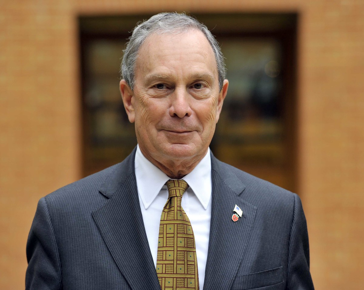 Michael Bloomberg, the mayor of New York, at a press conference, in front of a portrait of Britain