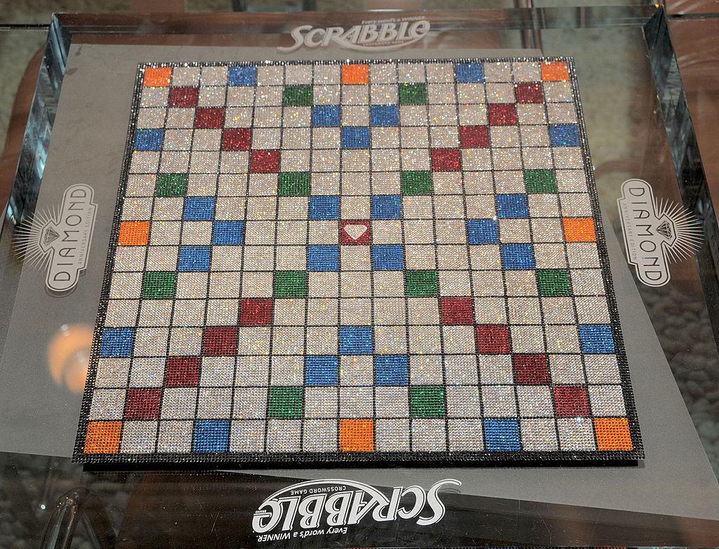 Swarovski encrusted Scrabble board at