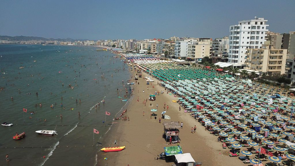 aerial view of a crowded beach in albania