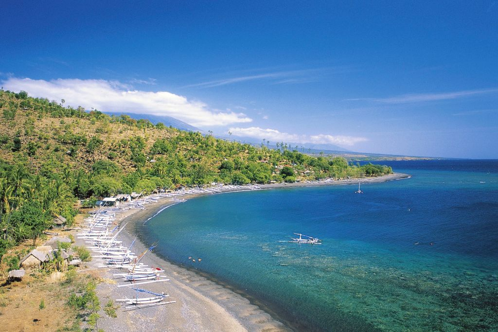 view of a beach in bali, indonesia