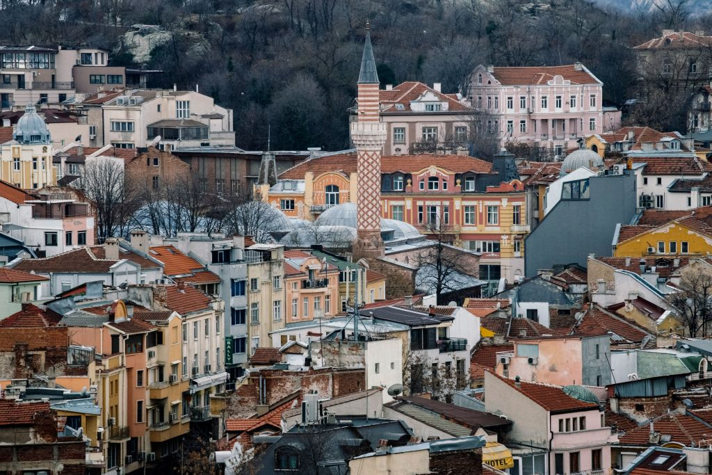 old town of bulgaria called plovdiv, old buildings close together