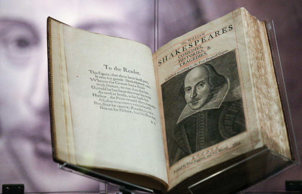 an original copy of first folio by william shakespeare opened