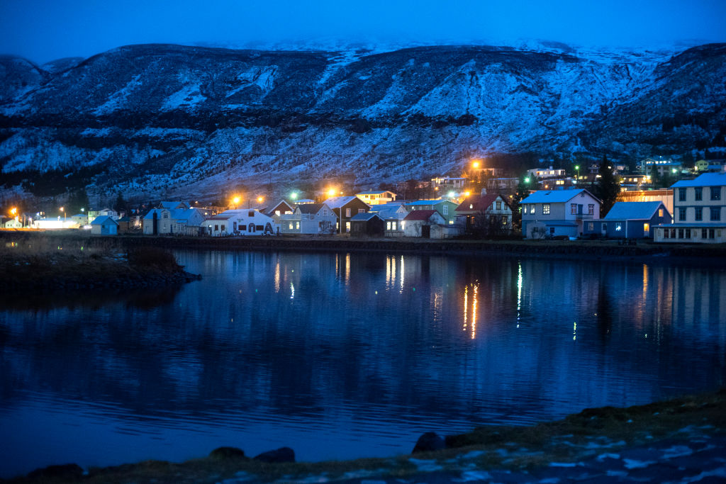 night view of the a town in iceland