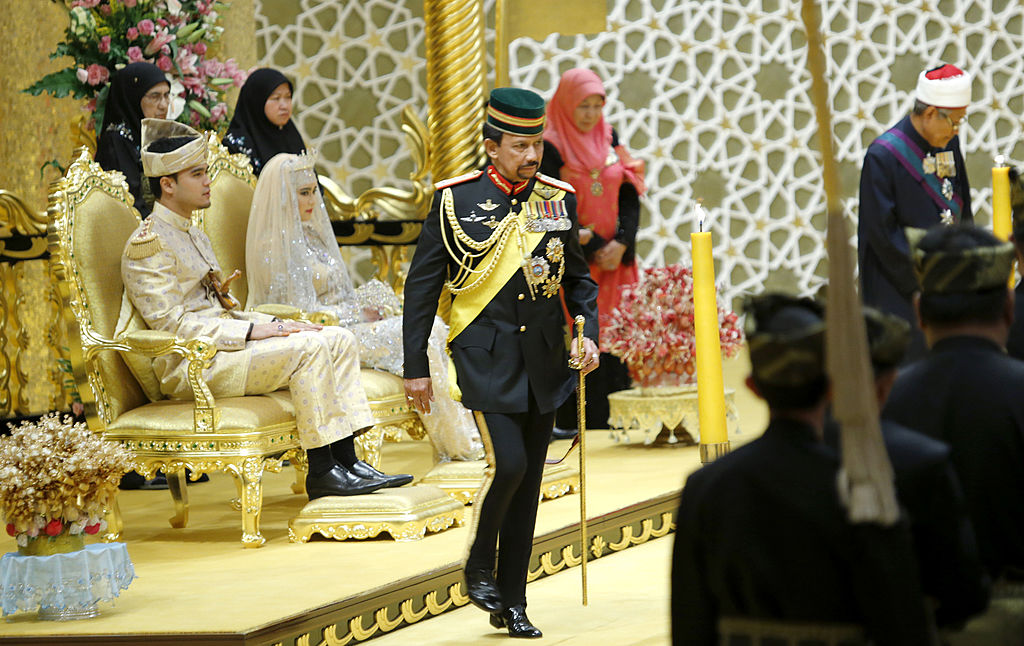 Brunei's Sultan Haji Hassanal Bolkiah returns after blessing to the royal couple Princess Hajah Hafizah Sururul Bolkiah and her groom Pengiran Haji Muhammad Ruzain