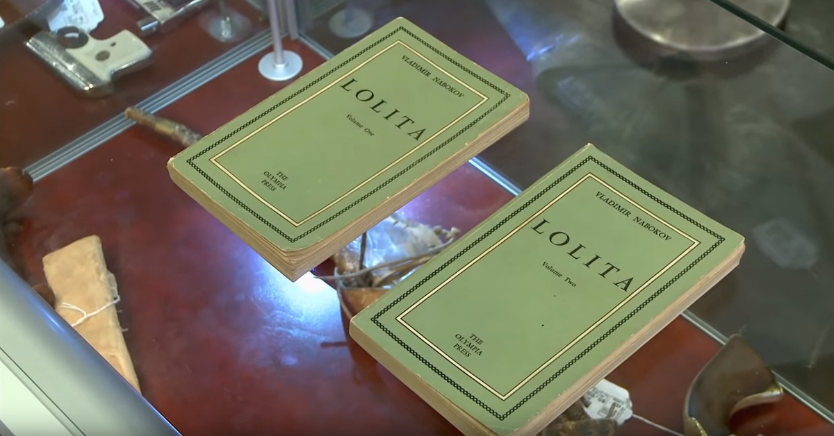 first edition copies of lolita volumes one and two on display at a pawn shop