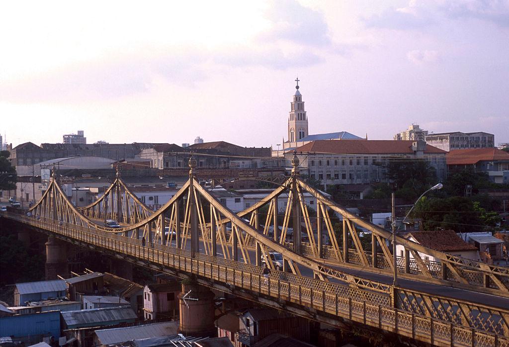 metallic bridge in the city of manaus, brazil