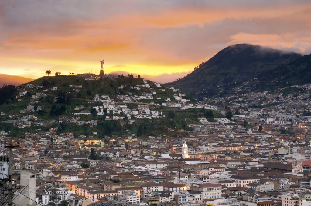 aerial view of quito, ecuador at sunset