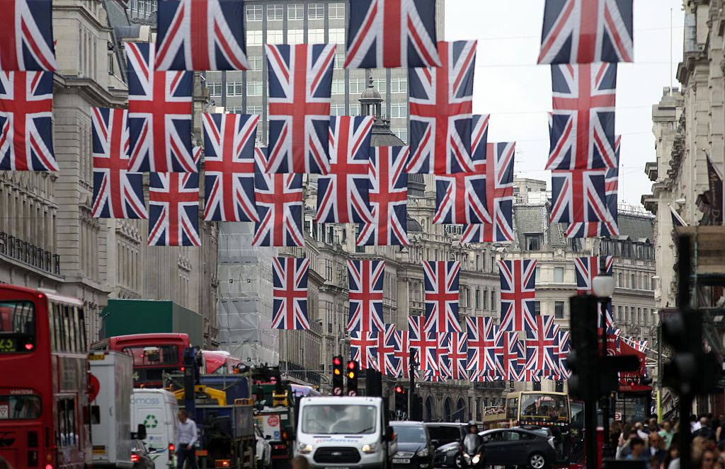 British Union flags hang above Regent Street in central London