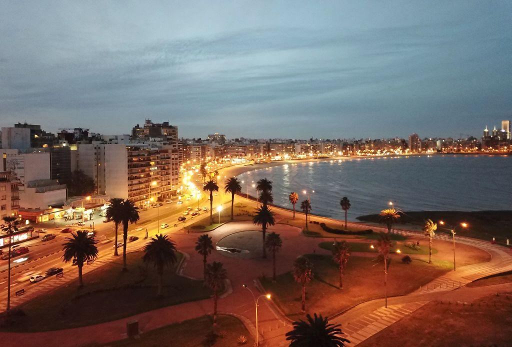 aerial view of pocitos beach in montevideo uruguay