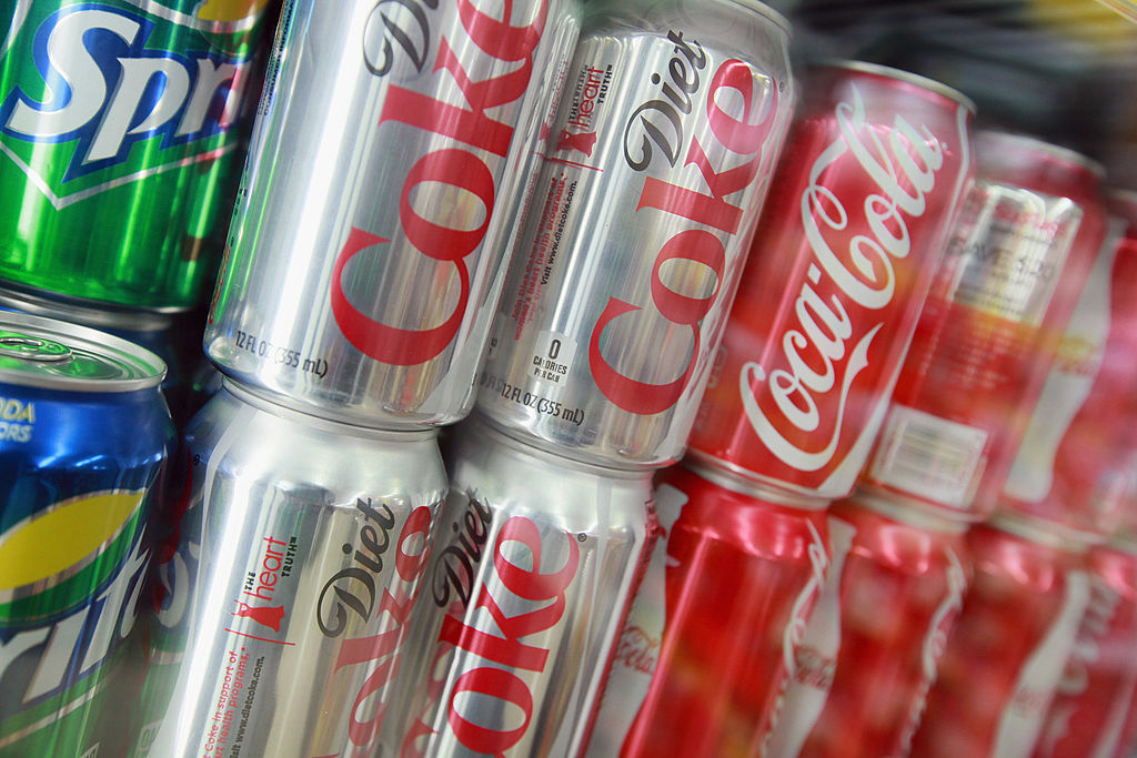 Cans of Sprite, Diet Coke and Coca-Cola are offered for sale at a grocery store on April 17, 2012 in Chicago, Illinois-143013804