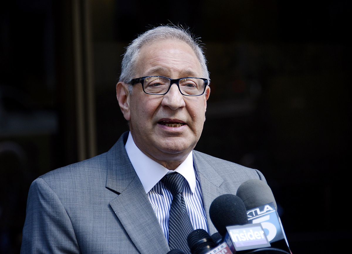 Attorney Mark Geragos speaks during a news conference after his client R&B singer Chris Brown was ordered to remain in jail without bail