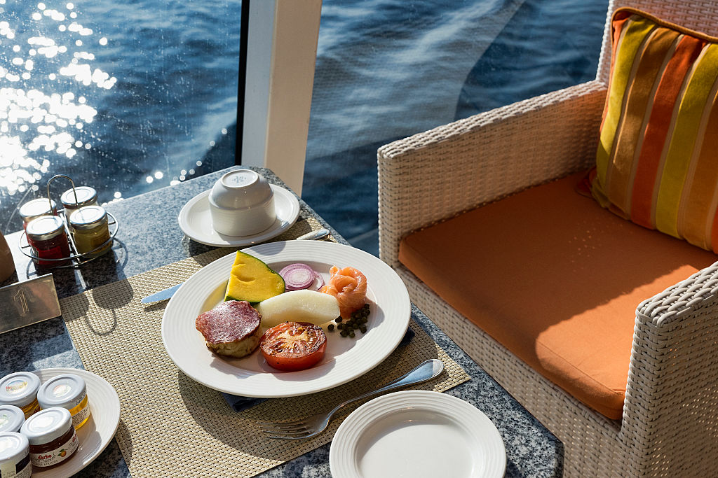 Breakfast setting on a cruise ship-489741250