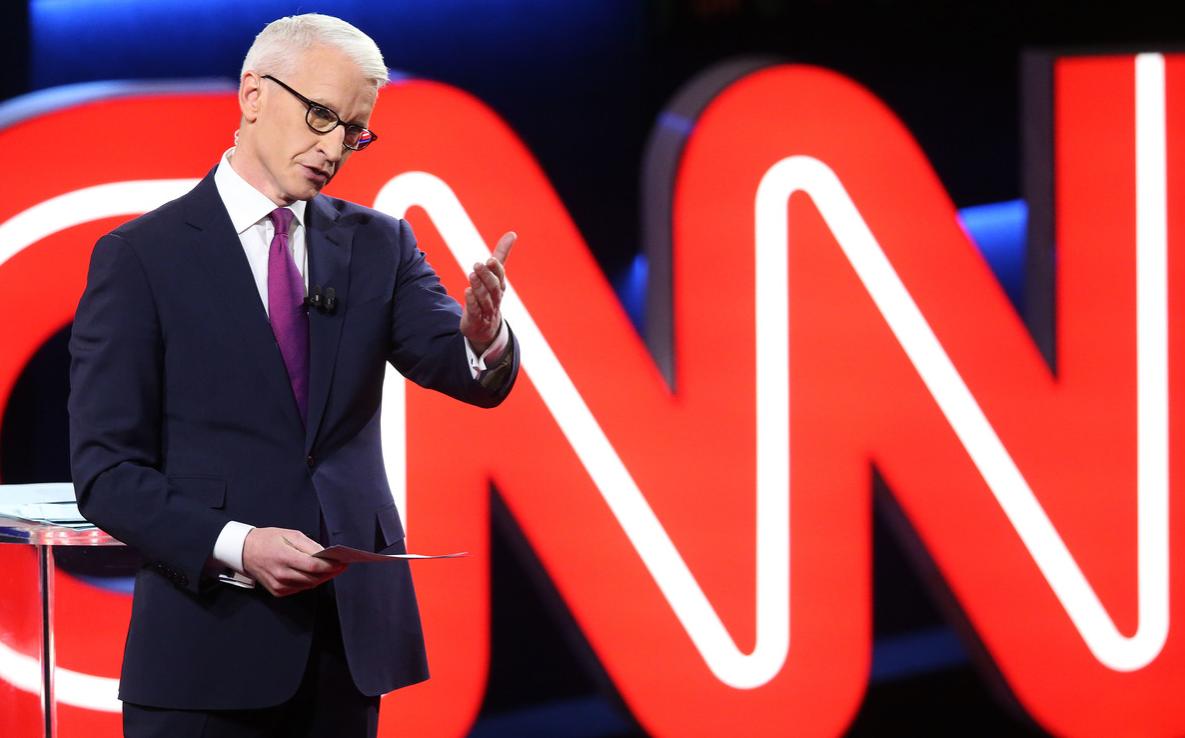 Debate moderator Anderson Cooper during the CNN Democratic Presidential Primary Debate in 2016