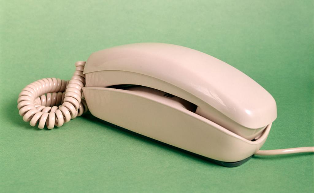 1960s BEIGE TRIMLINE SPRING CORDED TELEPHONE-563958443