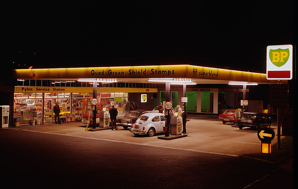 GettyImages-615558474 BP petrol station Forecourt circa 1972.