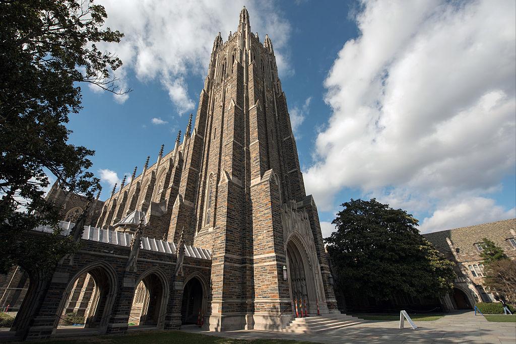A general view of the Duke University Chapel on the Duke University campus