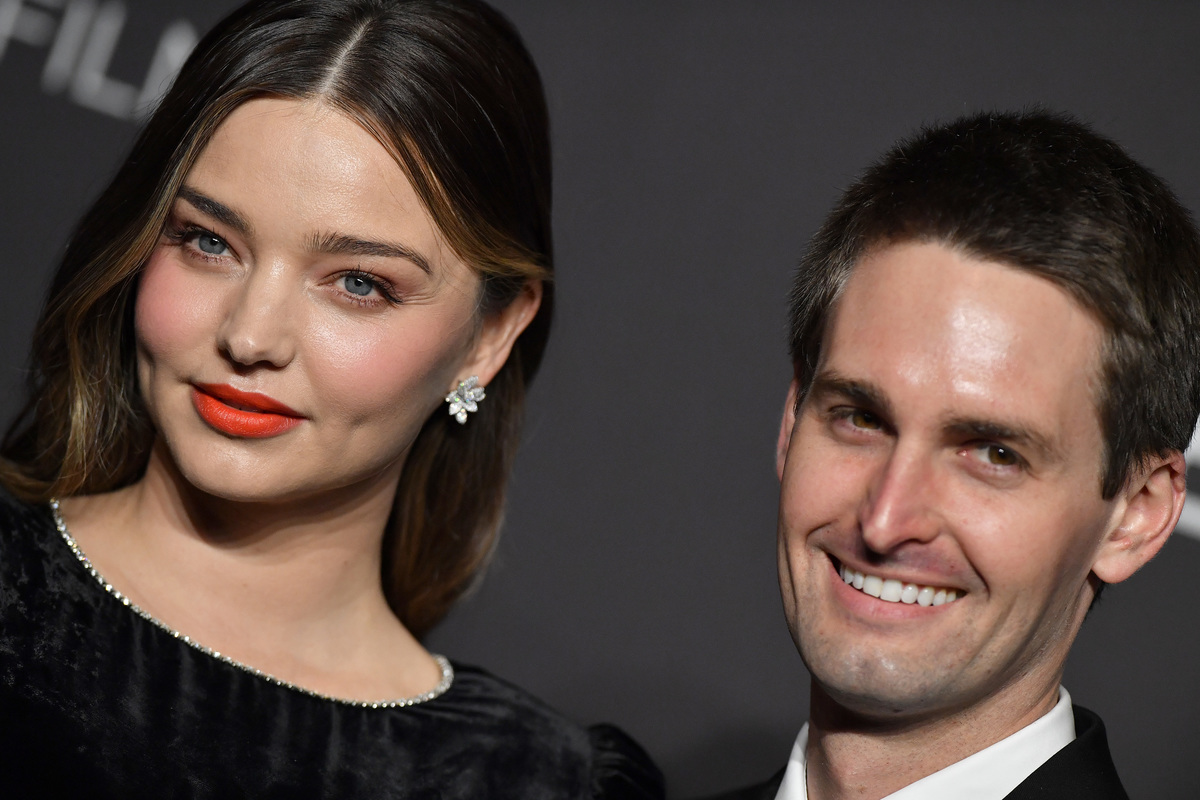 Evan Spiegel and Miranda Kerr attend France's National Day Reception, 2019