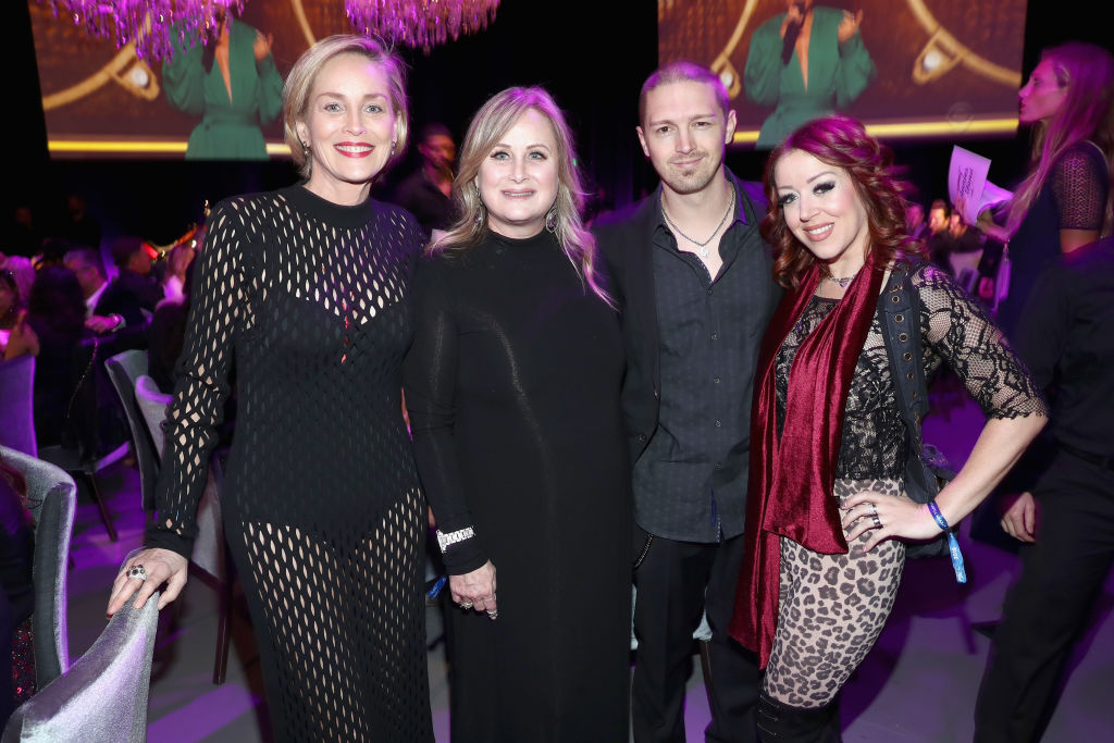 Sharon Stone, Kelly Stone, Sean Ellingson and Lynsi Snyder Ellingson attend Steven Tyler's Second Annual GRAMMY Awards Viewing Party