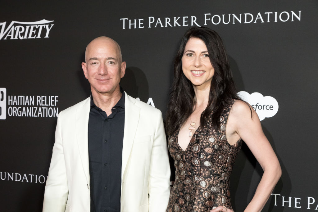 Chief Executive Officer of Amazon Jeff Bezos (L) and MacKenzie Bezos