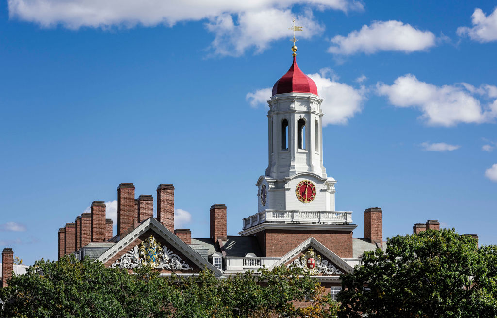 Dunster House dormitory with clock tower, Harvard University.