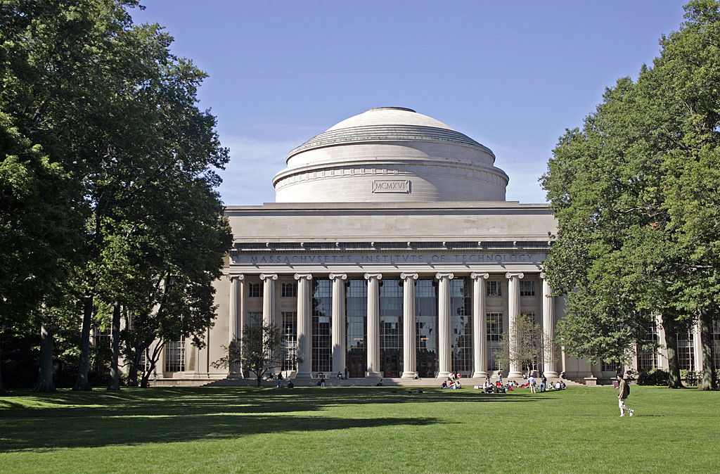 Students on campus at MIT Cambridge MA.