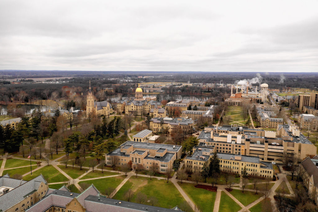 An overhead view of the campus of the University of Notre Dame