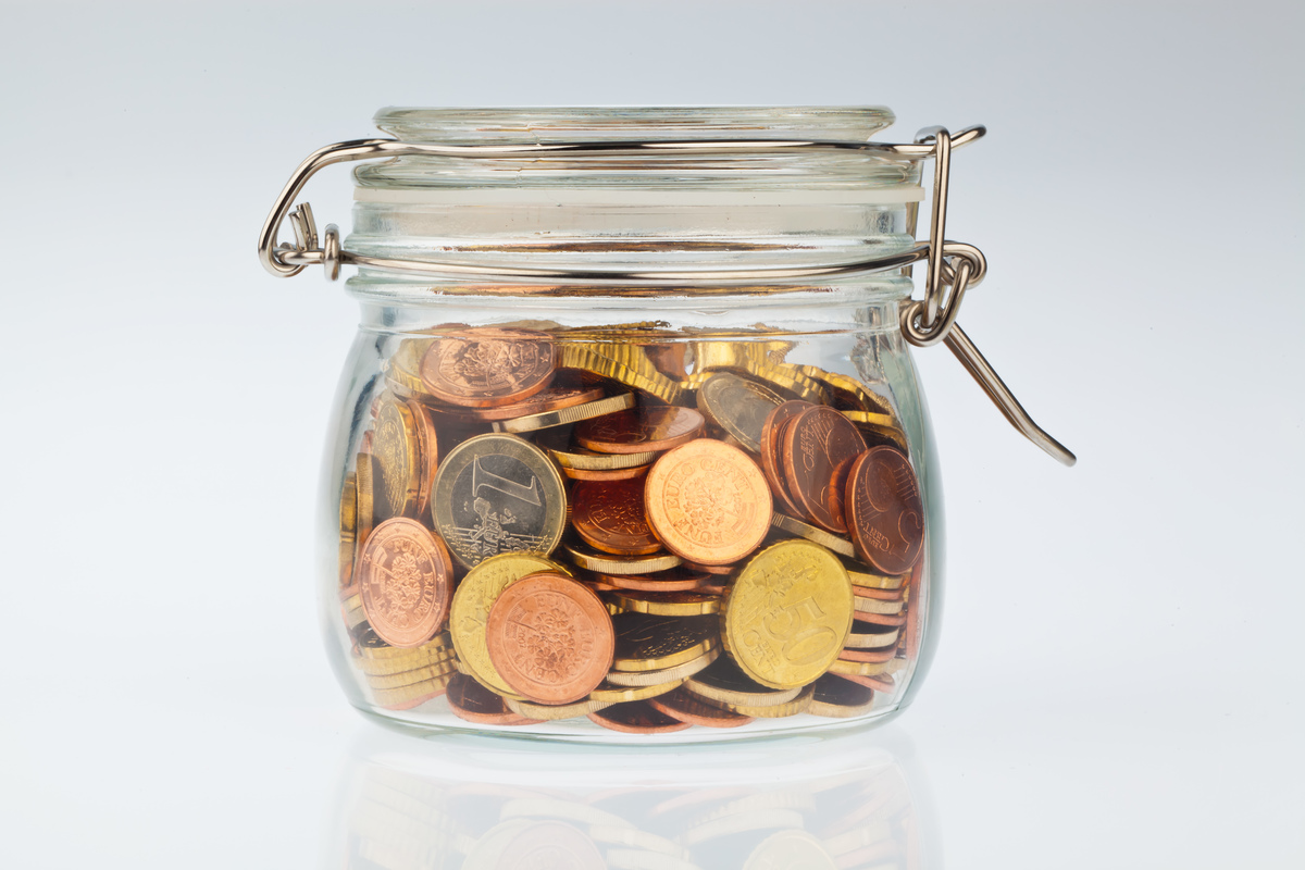 coins in a preserving jar
