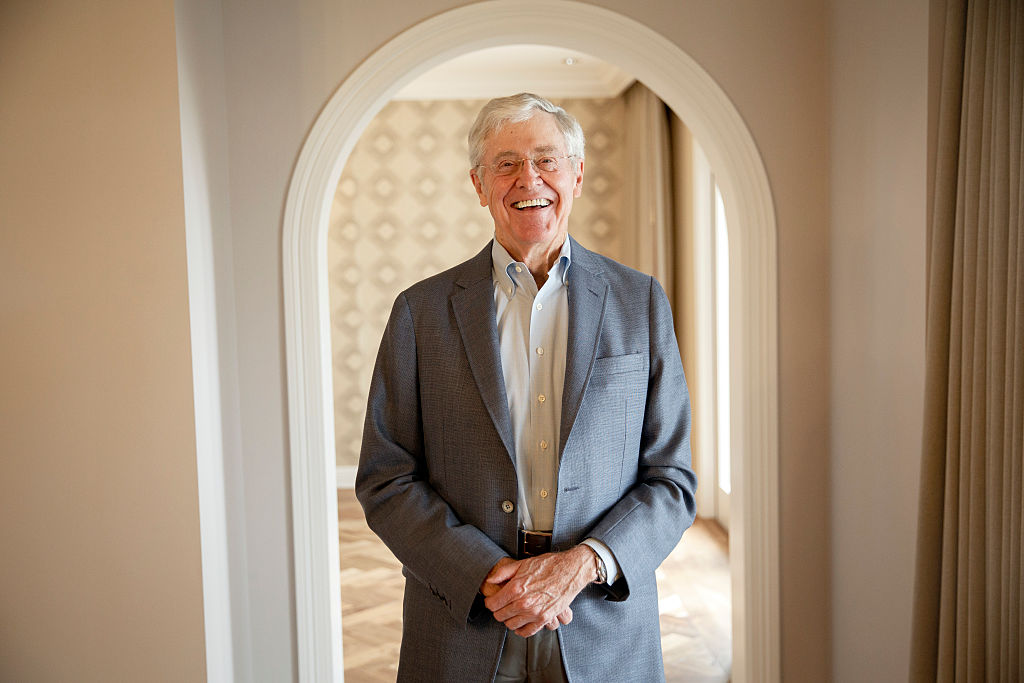 Charles Koch stands for a portrait after an interview with the Washington Post