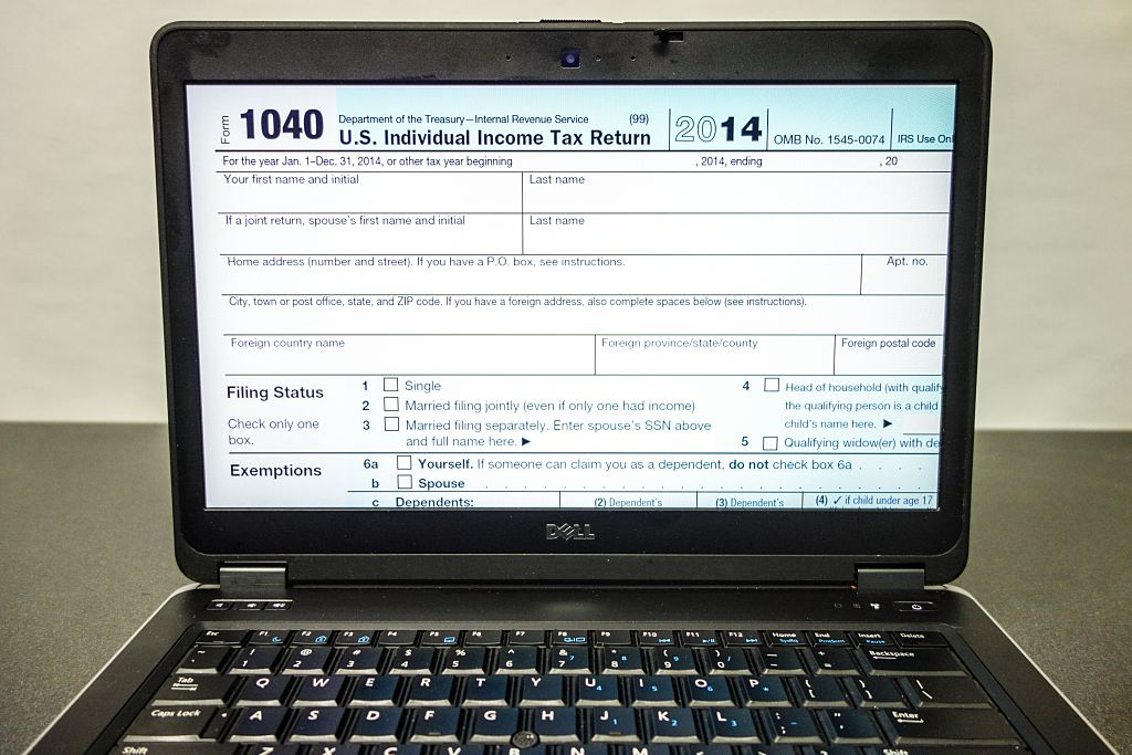 A view of an IRS 1040 Tax Form on a Laptop computer screen