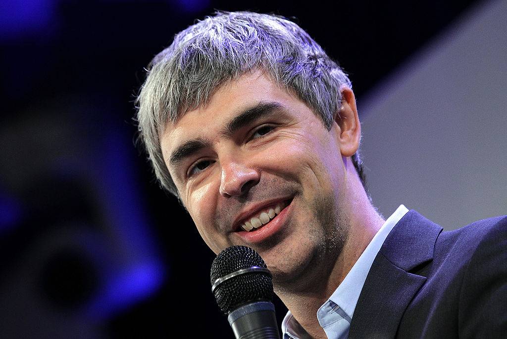 Google co-founder and CEO Larry Page speaks during a news conference at the Google offices