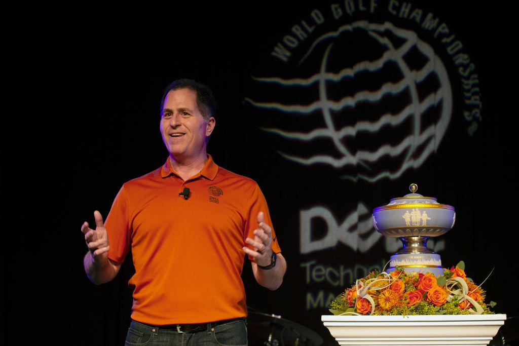 Michael Dell addresses a crowd