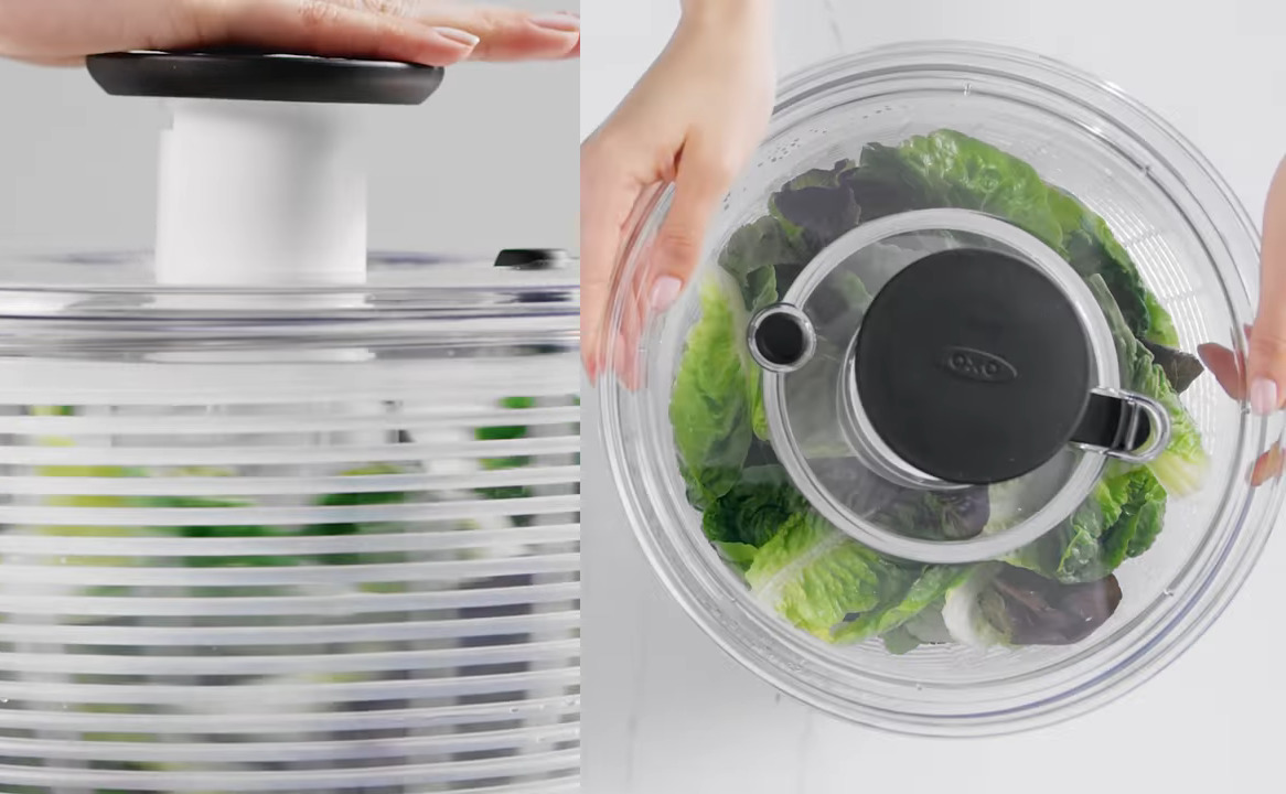 Person demonstrates the OXO Salad Spinner