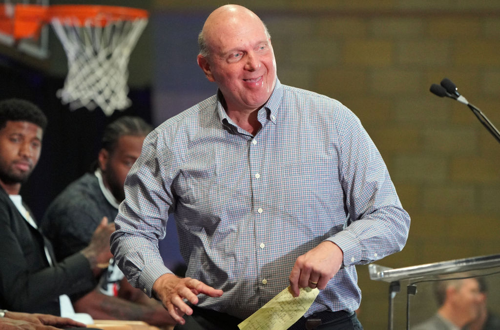 Clippers owner Steve Ballmer, steps up to the podium at a press conference