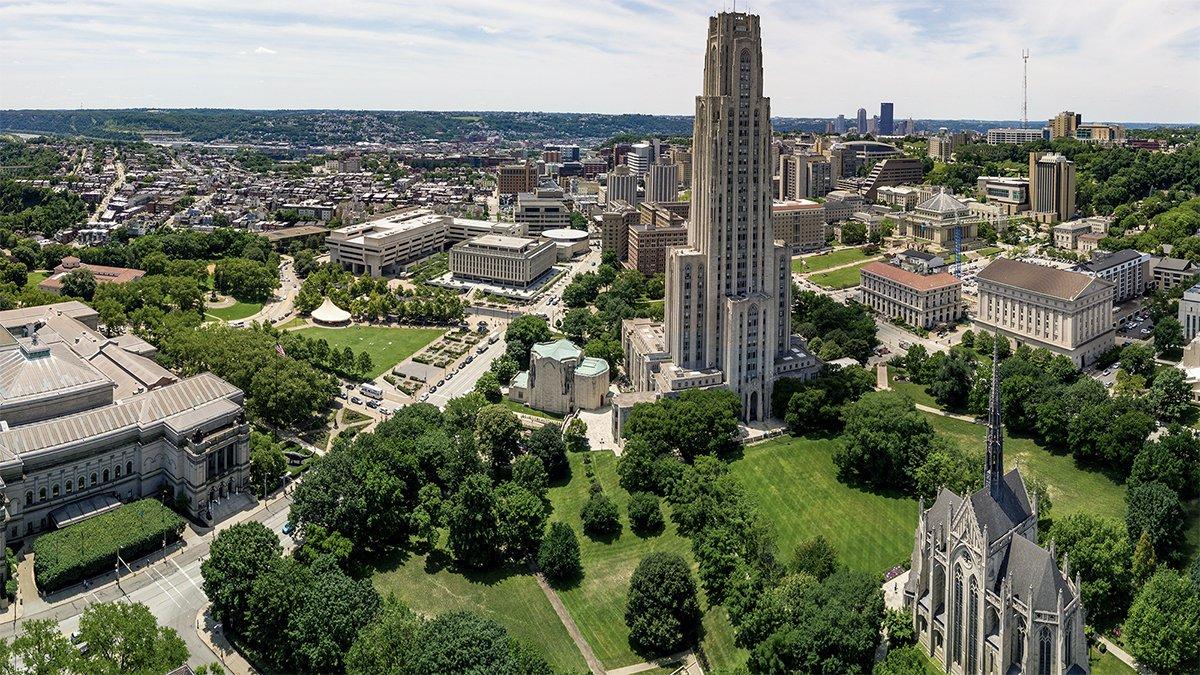 U of Pitt campus overhead shot