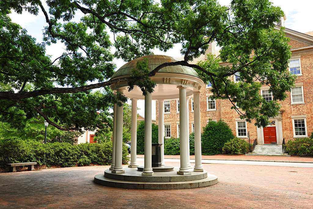 A view of the Old Well on campus of the University of North Carolina